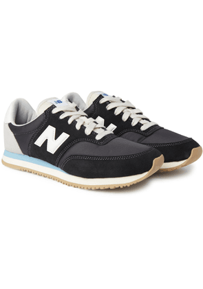 New Balance - Comp 100 Leather and Suede-Trimmed Shell Sneakers - Men - Black