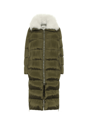 Army shearling-trimmed down coat