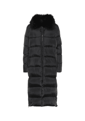 Shearling-trimmed down coat