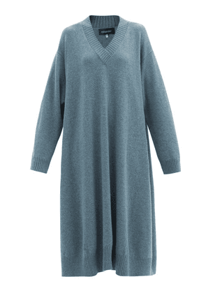 Eskandar - V-neck Cashmere Midi Dress - Womens - Mid Blue