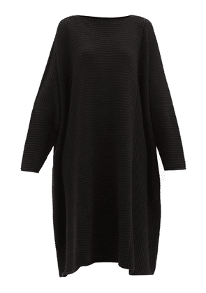 Eskandar - Boat-neck Rib-knitted Cashmere Midi Dress - Womens - Black