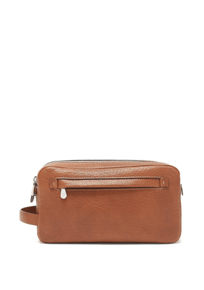 Brunello Cucinelli - Two-zip Grained-leather Washbag - Mens - Brown