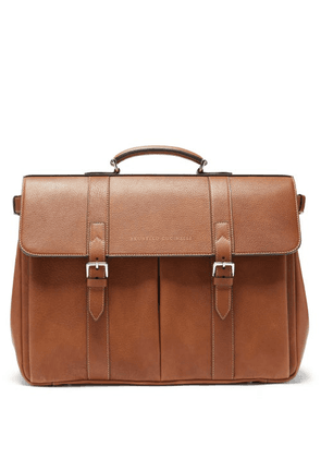 Brunello Cucinelli - Grained-leather Briefcase - Mens - Brown