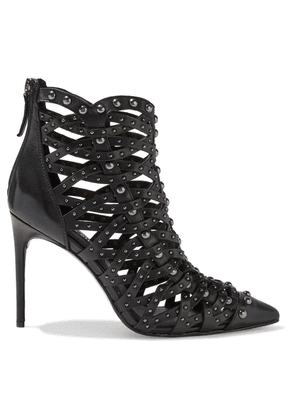 Alice + Olivia Reiy Studded Woven Leather Ankle Boots Woman Black Size 37