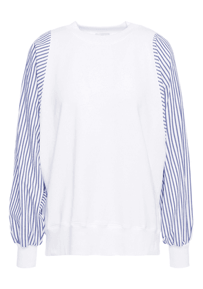 Clu Striped Poplin-paneled Stretch Cotton And Modal-blend French Terry Top Woman White Size M