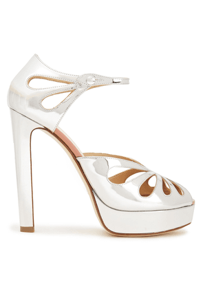 Francesco Russo Cutout Mirrored-leather Sandals Woman Silver Size 36