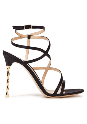 Gianvito Rossi Embellished Satin Sandals Woman Black Size 41