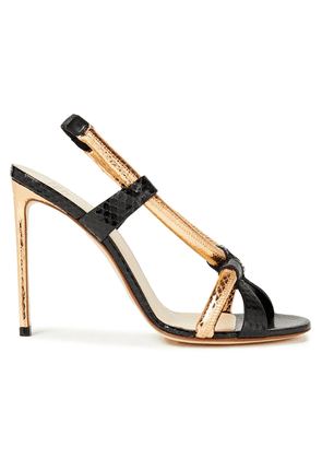 Francesco Russo Two-tone Snake-effect Leather Sandals Woman Black Size 37