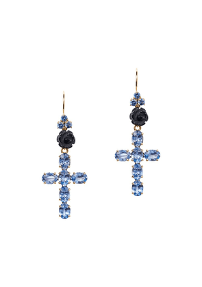 Dolce & Gabbana 18kt yellow gold Family cross sapphire and jade earrings