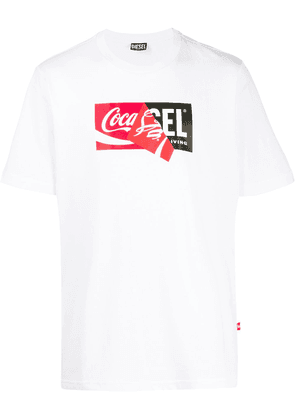 Diesel Recycled fabric T-Shirt with doublelogo print - White