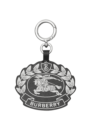Burberry Crest Print Leather Key Charm - Black