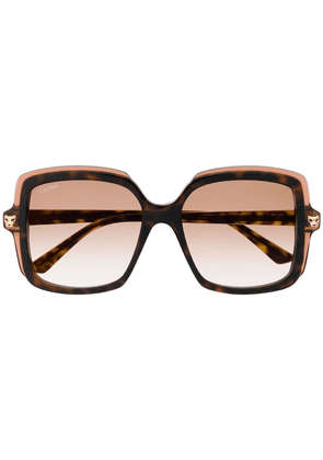 Cartier Eyewear square frame tinted sunglasses - Brown
