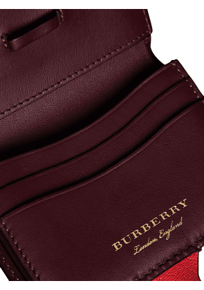 Burberry Equestrian Shield Leather Wallet - Red