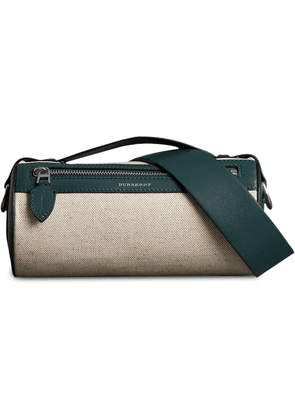Burberry The Cotton Linen and Leather Barrel Bag - Neutrals