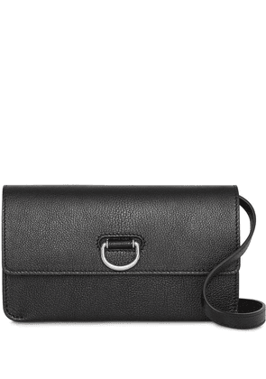 Burberry D-ring Leather Wallet with Detachable Strap - Black