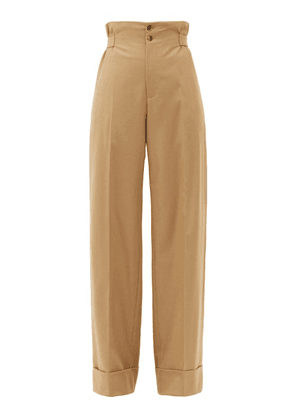 Connolly - Sash-waist Wool-blend Twill Wide-leg Trousers - Womens - Beige