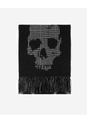 The Kooples - Check wool scarf with skull motif - MEN