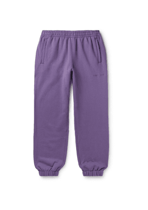 adidas Consortium - Pharrell Williams Basics Slim-Fit Logo-Embroidered Loopback Cotton-Jersey Sweatpants - Men - Purple