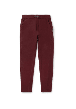 Brunello Cucinelli - Slim-Fit Tapered Fleece-Back Stretch-Cotton Jersey Sweatpants - Men - Burgundy