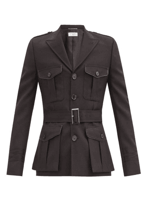 Saint Laurent - Leather-trimmed Wool Safari Jacket - Mens - Black