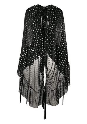Saint Laurent semi-sheer ruffled cape - Black