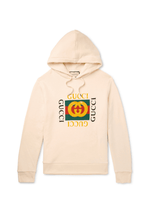 GUCCI - Printed Loopback Cotton-Jersey Hoodie - Men - Neutrals - XS