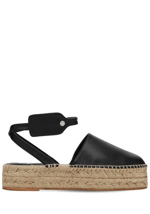 40mm Zip Tie Leather Espadrille Wedges
