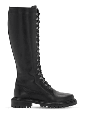 30mm Combat Leather Tall Boots
