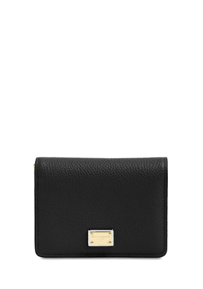 Grained Leather Compact Wallet