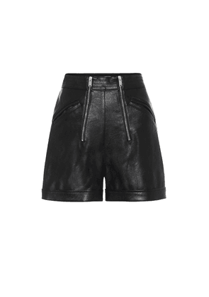 Faux-leather high-rise shorts