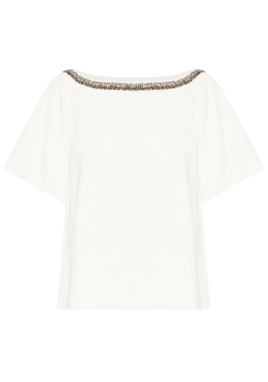 Embroidered compact-knit top
