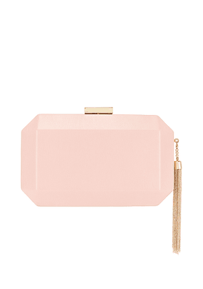 olga berg Lia Facetted Clutch With Tassel in Pink.