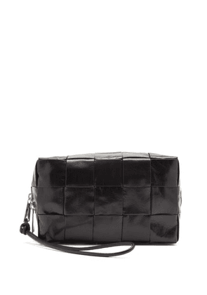 Bottega Veneta - Intrecciato-leather Wash Bag - Mens - Black Silver