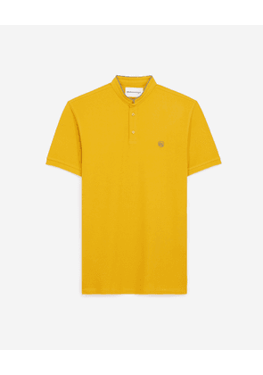 The Kooples - Yellow cotton polo with grey piping - MEN