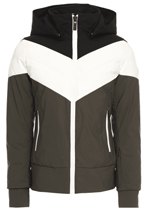 Fusalp Quilted Color-block Hooded Ski Jacket Woman Black Size 36
