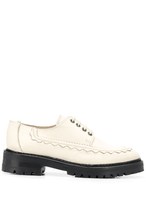 Alexa Chung tumbled leather lace-up shoes - Neutrals