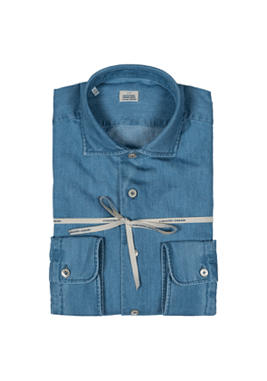 Blue Washed Denim French Collar Shirt