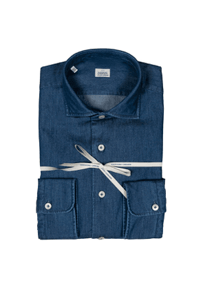 Dark Blue Washed Denim French Collar Shirt