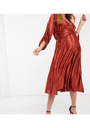 ASOS DESIGN Maternity ruched sleeve satin pleated midi dress in mocha-Multi