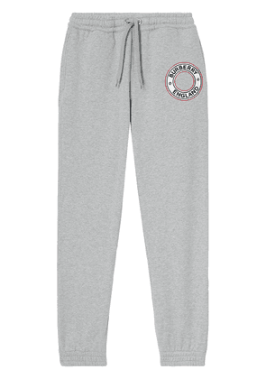 Burberry logo-embroidered appliqué track pants - Grey