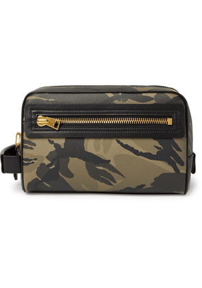 TOM FORD - Camouflage-Print Full-Grain Leather Wash Bag - Men - Gray