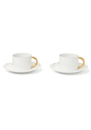 L'OBJET - Haas Mojave Set of Two Gold-Plated Porcelain Tea Cups and Saucers - Men - White