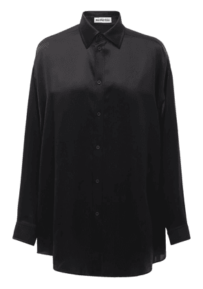 Fluid Silk Satin Shirt W/back Logo