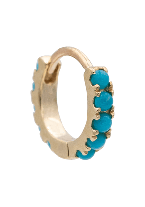 Eternity 14kt gold single hoop earring with turquoise