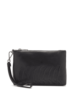 Alexander Mcqueen - Ribcage-embossed Leather Pouch - Mens - Black