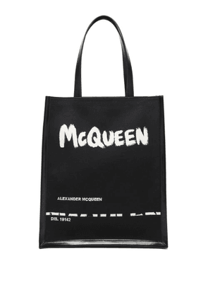 Alexander Mcqueen - Logo-print Canvas And Leather Tote Bag - Mens - Black