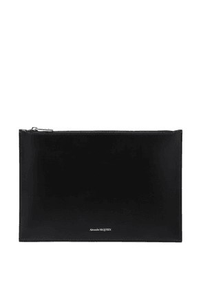 Alexander Mcqueen - Foiled-logo Leather Pouch - Mens - Black