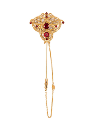 Dolce & Gabbana embellished chain brooch - Gold