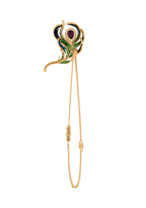 Dolce & Gabbana peacock feather chain brooch - Gold