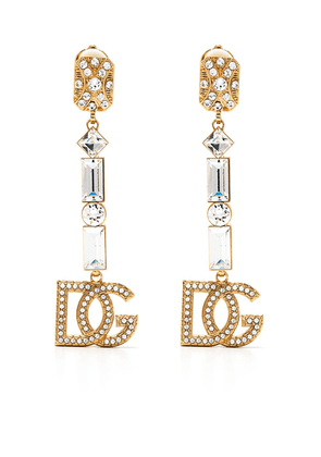 Dolce & Gabbana logo-plaque dropped clip-on earrings - GOLD